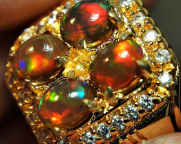 66.20CRT PAIR  4 PCS WELLO OPAL STUNING RING SIZE 15 ALPAKA CHROOM