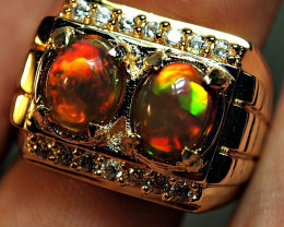 58.40CRT PAIR OPAL AMAZING BROAD STREEP ALPAKA RING