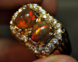 55.65crt PAIR WELLO ETIOPIAN OPAL ALPAKA RING CUSTOM