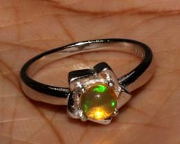 Ethiopian Welo Fire Opal 925 Sterling Silver Ring Size (6 US) 8