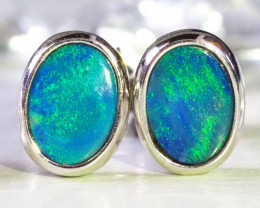 Cute doublet opal earrings set in silver WS589