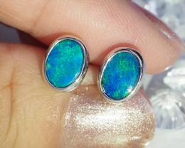 Cute doublet opal earrings set in silver WS591