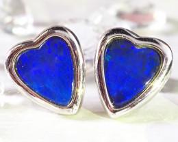 Heart shaped doublet opal earrings set in silver WS592