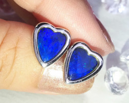 Heart shaped doublet opal earrings set in silver WS593
