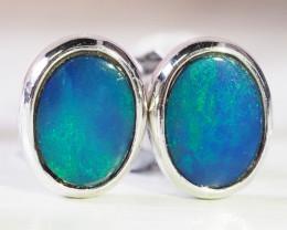 Cute doublet opal earrings set in silver WS594
