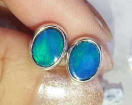 Cute doublet opal earrings set in silver WS595