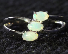 Cute Crystal Opal Set in Silver Ring WS599