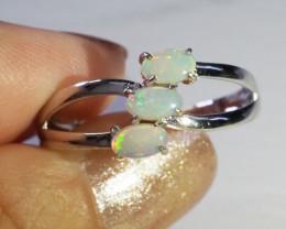 Cute Crystal Opal Set in Silver Ring WS600