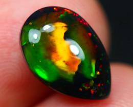 3.44Ct Marble Rainbow Pin Pattern Ethiopian Welo Black Smoked Opal~D11/10