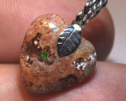 10.5ct Unique Matrix Heart Shaped Opal Pendant