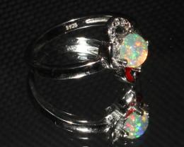 Ethiopian Welo Fire Opal 925 Sterling Silver Ring Size (5 US) 10