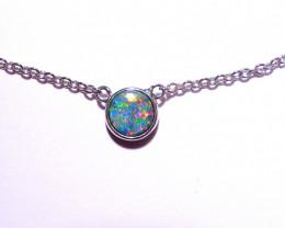 ON SALE Genuine Australian Gem Opal Doublet and Sterling Silver Pendant