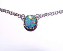 Genuine Australian Gem Opal Doublet and Sterling Silver Pendant