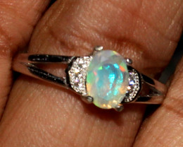 Ethiopian Welo Fire Faceted Opal 925 Sterling Silver Ring Size (6 US) 11