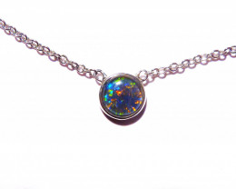 Australian Gem Grade Opal and Sterling Silver Pendant