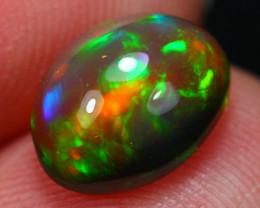 2.41Ct Neon Patchwork Pattern Ethiopian Welo Black Smoked Opal ~ D13/7