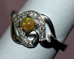 Natural Ethiopian Welo Fire Opal 925 Silver Ring Size ( 5 3/4 US) 12