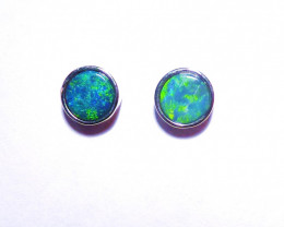 Pretty Australian Gem Opal Doublet and Sterling Silver Earrings