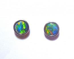 Beautiful Australian Gem Opal and Sterling Silver Stud Earrings (3375)