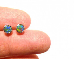 Beautiful Australian Gem Opal and Sterling Silver Stud Earrings (3375)