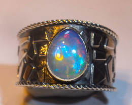 Sz10.5 SOLID CRYSTAL OPAL HIGH QUALITY .925 STERLING FABULOUS RING