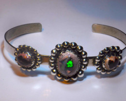 5 inches Solid Mexican Matrix Fire Opal Bracelet   .925-Silver Cuff
