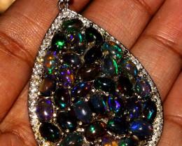 Natural Ethiopian Welo Fire Smoked Opal Pendant Jewelry