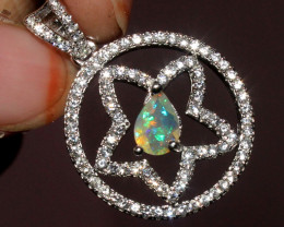 Natural Ethiopian Welo Fire Faceted Opal Pendant 58