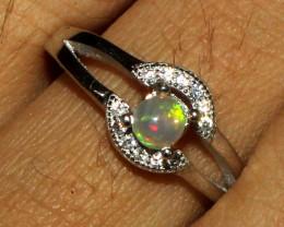Ethiopian Welo Fire Opal 925 Sterling Silver Ring Size (7 3/4 US) 19