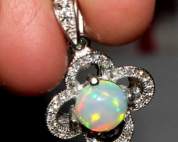 Natural Ethiopian Welo Fire Opal 925 Sterling Silver Pendant 62