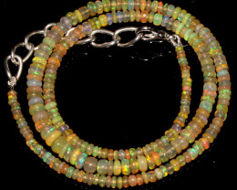 31 Crts Natural Ethiopian Welo Fire Opal Beads Necklace 70