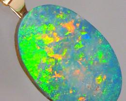 Australian Opal Pendant 14k Gold Bright Rainbow Gem Doublet