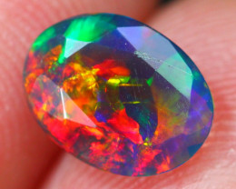 1.05Ct Neon Rainbow Flash Ethiopian Welo Black Smoked Faceted Opal~D17/11