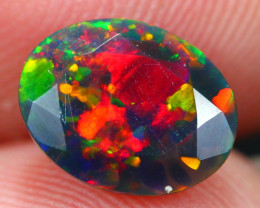 1.19Ct Rainbow Confetti Ethiopian Welo Black Smoked Faceted Opal~D17/15