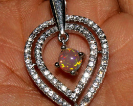 Natural Ethiopian Welo Fire Opal 925 Sterling Silver Pendant 61