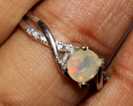 Natural Ethiopian Welo Fire Opal 925 Silver Ring Size ( 6 3/4 US) 37