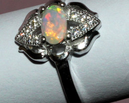 Natural Ethiopian Welo Fire Faceted Opal 925 Silver Ring Size ( 7 US) 13