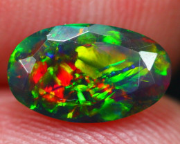 0.83Ct Chaff Fire Ethiopian Welo Black Smoked Faceted Opal ~ D23/5