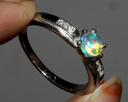 Natural Ethiopian Welo Fire Opal 925 Silver Ring Size ( 8 US) 43