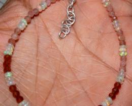 Natural Ethiopian Welo Opal Garnet & Sunstone Beads Bracelet 46
