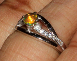 Natural Ethiopian Welo Fire Opal 925 Silver Ring Size ( 4.5 US) 38