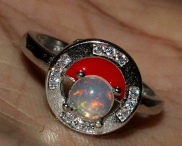 Natural Ethiopian Welo Fire Opal 925 Silver Ring Size ( 4 3/4 US) 21