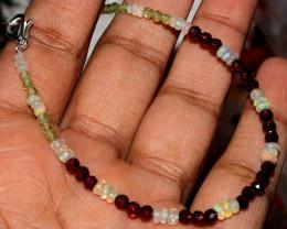 Natural Ethiopian Welo Fire Opal, Garnet & Peridot beads Bracelet 49