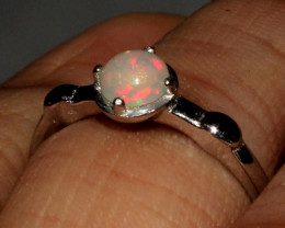 Natural Ethiopian Welo Fire Opal 925 Silver Ring Size ( 6 US) 65