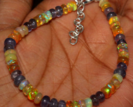 Natural Ethiopian Welo Fire Opal & Tanzanite Beads Bracelet 64