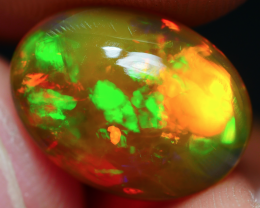 2.80 CRT (CRACK) CRYSTAL BROWN FLORAL FIRE PATTERN BEAUTY COLOR WELO OPAL