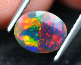 0.93Ct Bi-Pattern Ethiopian Welo Black Smoked Faceted Opal C03