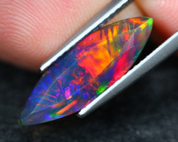 1.26Ct Rainbow Chaff Fire Ethiopian Welo Black Smoked Faceted Opal C28/4