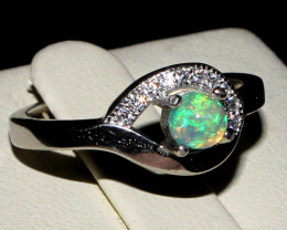 Natural Ethiopian Welo Fire Opal 925 Silver Ring Size ( 6 US) 72