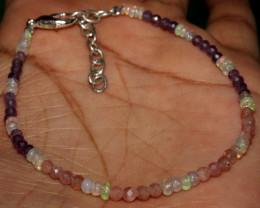 Natural Ethiopian Welo Opal Sunstone & Amethyst Beads Bracelet 60